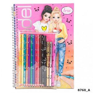 cuaderno para colorear y disenar con lapices y boligrafos metalicos top model